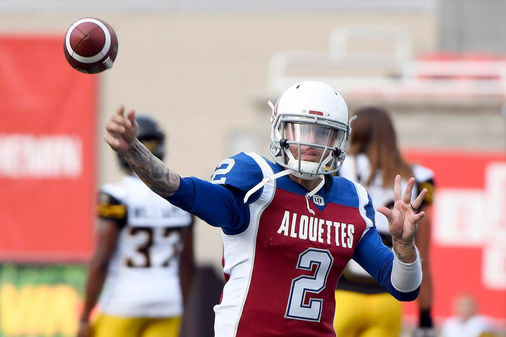Montreal Alouettes quarterback Johnny Manziel warms up for the team's Canadian Football League game against the Hamilton Tiger-Cats on Friday, Aug. 3, 2018, in Montreal. (Paul Chiasson/The Canadian Press via AP)