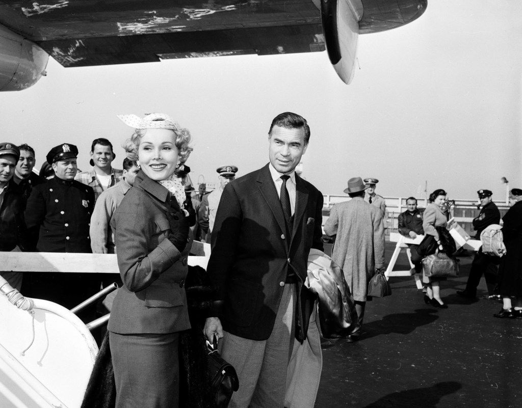 Actress Zsa Zsa Gabor and Porfirio Rubirosa arrive together at New York's international airport. Rubirosa's purported lovers included Gabor, Marilyn Monroe, Eva Perón, Eartha Kitt, Ava Gardner, Rita Hayworth, Veronica Lake, Joan Crawford, Kim Novak and Judy Garland, not to mention his five wives.