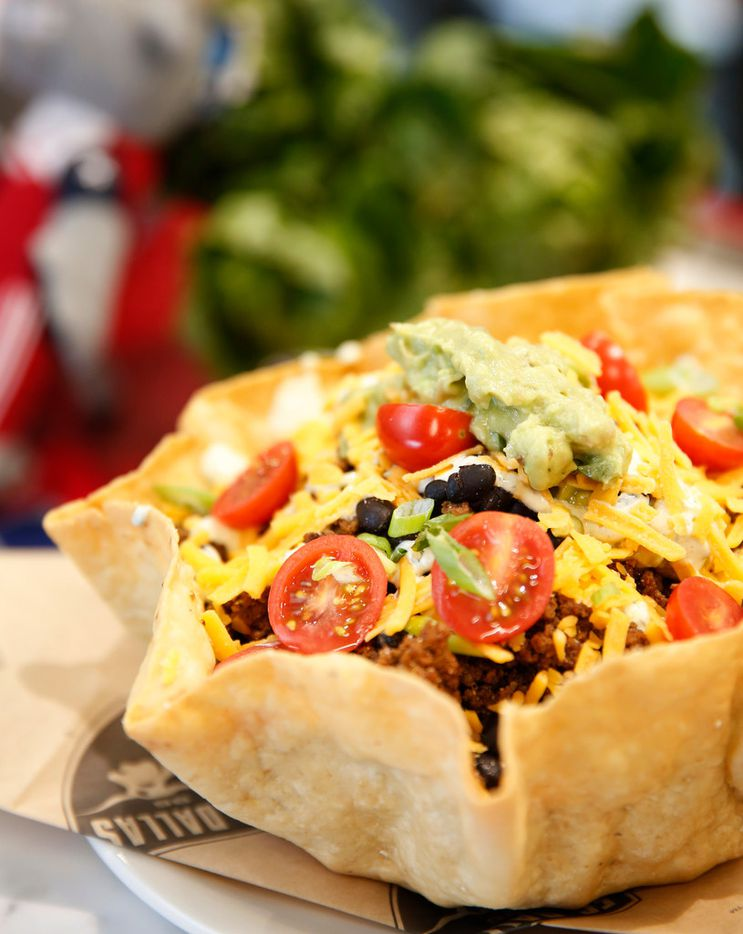 The Tiebreaker Taco Salad photographed at Toyota Stadium in Frisco, Texas on Wednesday, Feb. 20, 2019. The item is part of FC Dallas' new culinary offerings for the season. (Rose Baca/Staff Photographer)