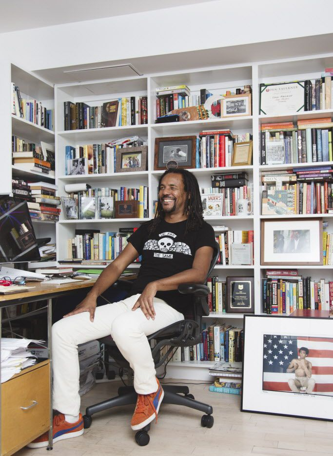 """The author Colson Whitehead at his home in New York, July 28, 2016. Whitehead''s newest book, """"The Underground Railroad,"""" follows a 15-year-old slave named Cora as she escapes north via a literal network of underground tracks and trains. Oprah Winfrey made it her latest book club pick on Aug. 2."""
