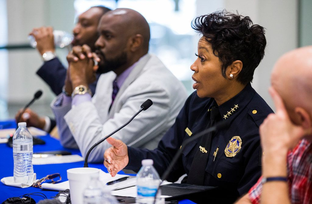 Dallas Police Chief Renee Hall answers a question at a public safety forum to address an increase in violent crime on Saturday, June 22, 2019, at the University of North Texas System building in downtown Dallas.