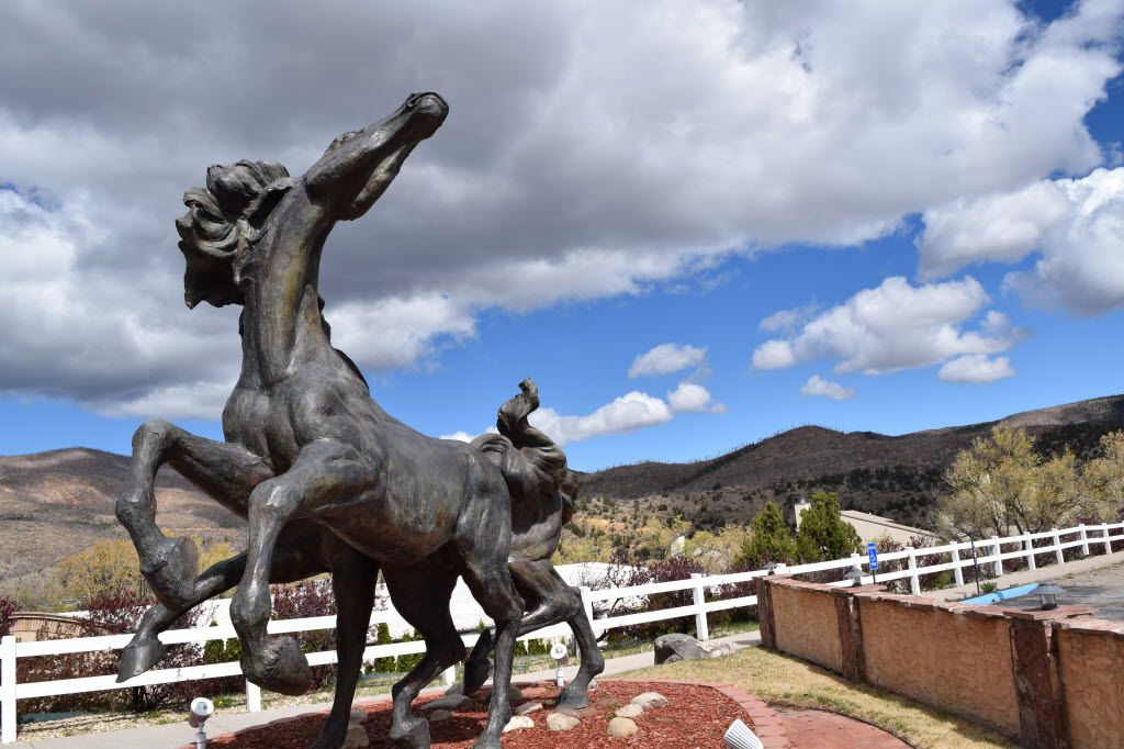 One of eight equine statues outside the Hubbard Museum of the American West by sculptor David McGary.