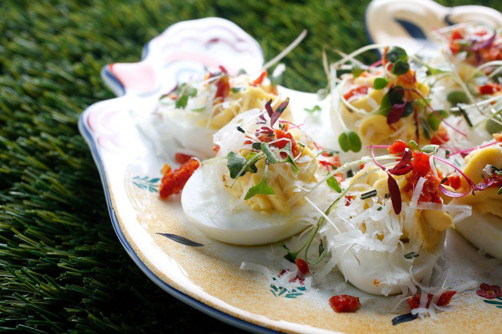 Parmesan, Truffle Oil and Rainbow Microgreens deviled eggs