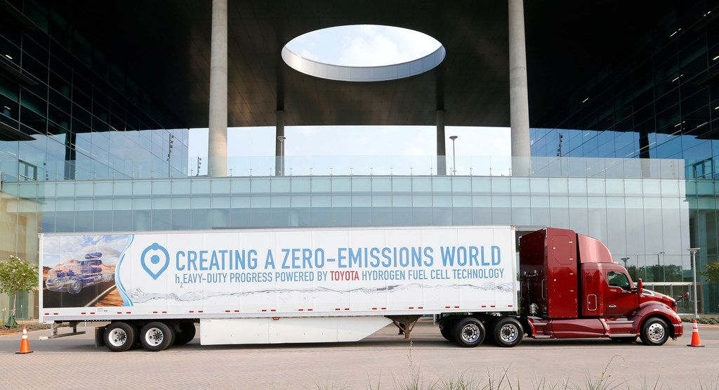 A hydrogen fuel cell hauler stopped in August at Toyota's North America headquarters in Plano.