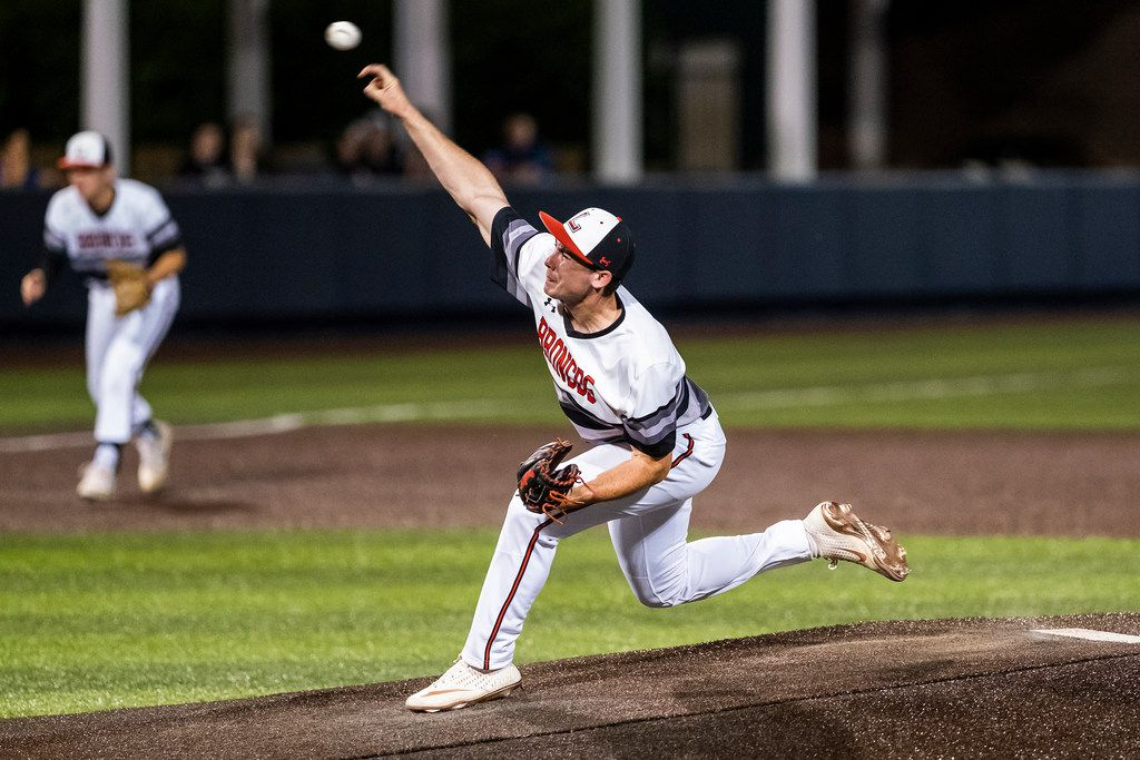 Mansfield Legacy pitcher Nathan Rooney pitches during the first inning against the Colleyville Heritage of game one of a best-of-three Class 5A Region I quarterfinal baseball playoff series at Dallas Baptist University on Thursday, May 16, 2019, in Dallas. (Smiley N. Pool/The Dallas Morning News)