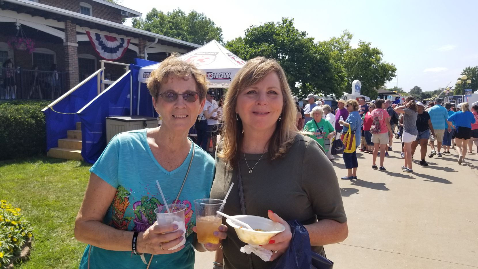 Beverly Hutchinson, 75, a retired deputy sheriff from Oskaloosa, and her daughter Shari Giudicessi, 57, a Des Moines retail manager, at the Iowa State Fair on Aug. 8, 2019. They agreed that Beto O'Rourke's place was in El Paso rather than Iowa in the week after a mass shooting in his hometown.