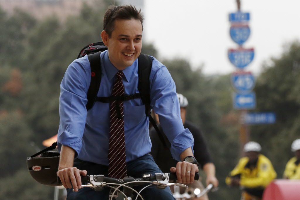 Scott Griggs took part in a group bike ride from Main Street Garden Park  to City Hall in October 2015.