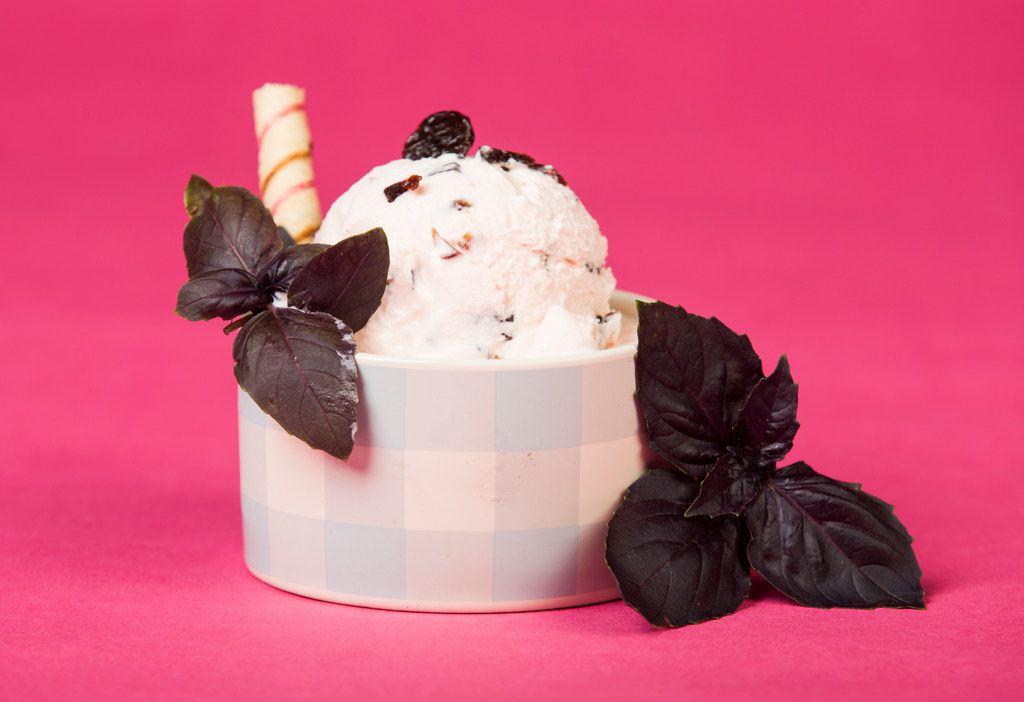 Cherry ice cream with Thai basil