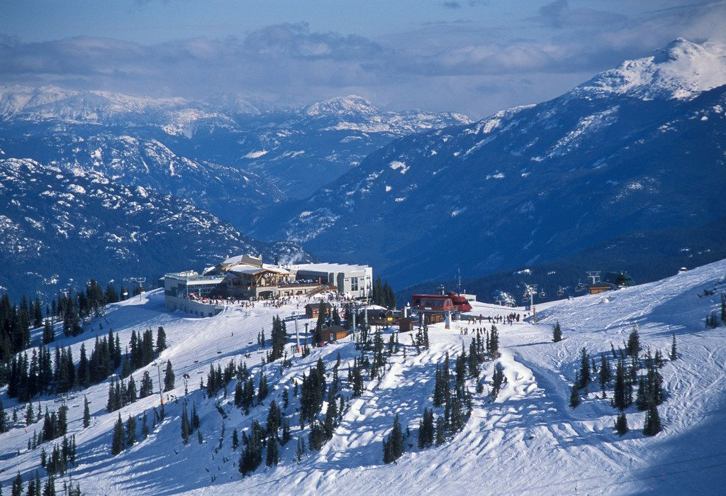 The Roundhouse Lodge sits above the village at British Columbia's Whistler Blackcomb.  To enjoy the view, the new Whisky Jack's Umbrella Bar here will feature seats on a heated patio.