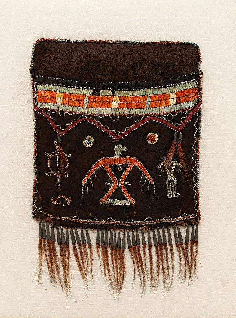 This shoulder bag is part of the New York City museum's exhibit on American Indian art.