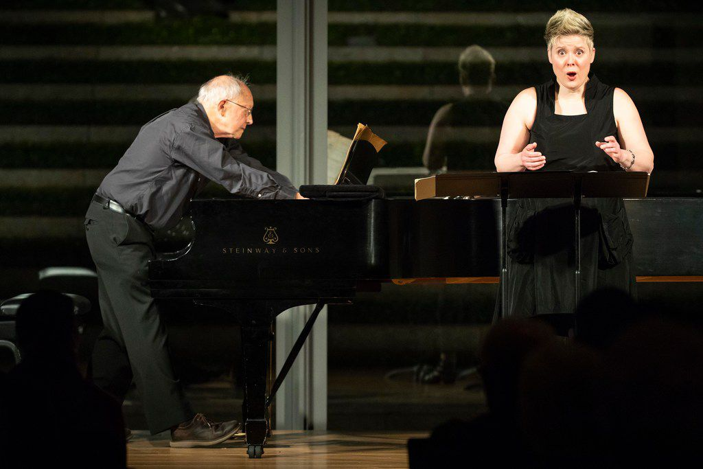 """Soprano Tony Arnold and pianist Gilbert Kalish perform Apparition by George Crumb during a """"Soundings: New Music at the Nasher"""" series concert at the Nasher Sculpture Center on Jan. 4, 2019, in Dallas. (Smiley N. Pool/The Dallas Morning News)"""