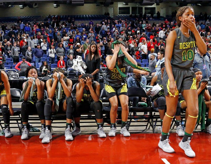 Desoto's Ayanna Thompson walks to the court as other members try hand a hard time. UIL girls basketball 6A State final between DeSoto and Judson on Saturday, March 2, 2019 at the Alamodome in San Antonio, Texas. (Ron Cortes/ Special Contributor) ORG XMIT: 10043972A