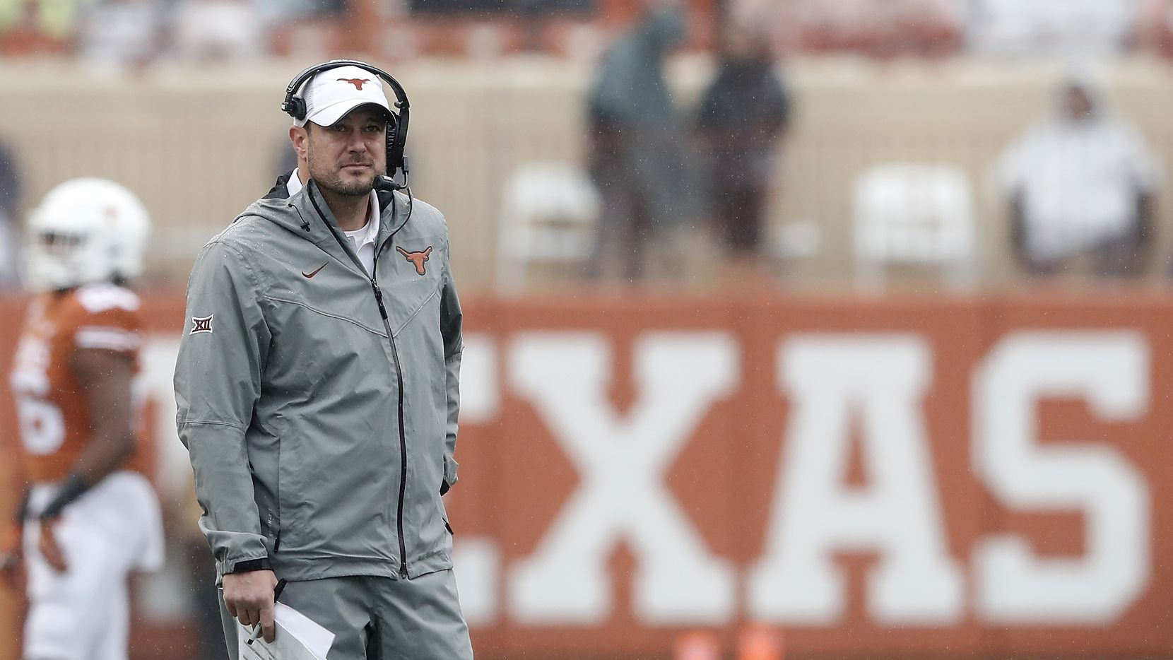 AUSTIN, TX - NOVEMBER 29:  Head coach Tom Herman of the Texas Longhorns looks at the scoreboard in the second half against the Texas Tech Red Raiders at Darrell K Royal-Texas Memorial Stadium on November 29, 2019 in Austin, Texas.
