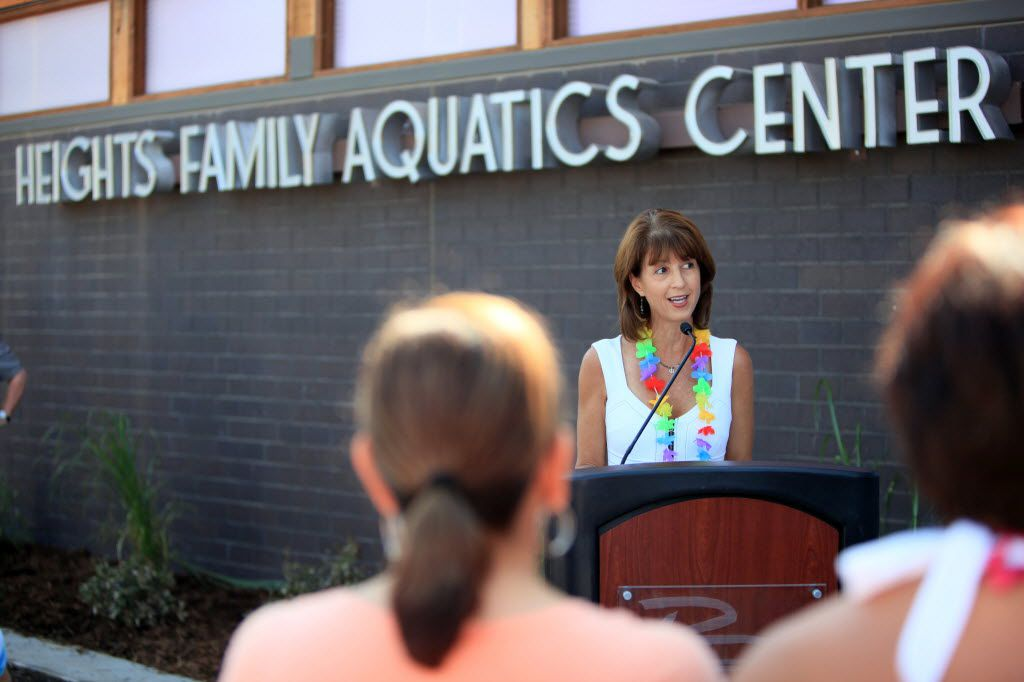 Former Richardson Mayor Laura Maczka spoke during the grand opening of the Heights Family Aquatic Center, on July 12, 2013 in Richardson.