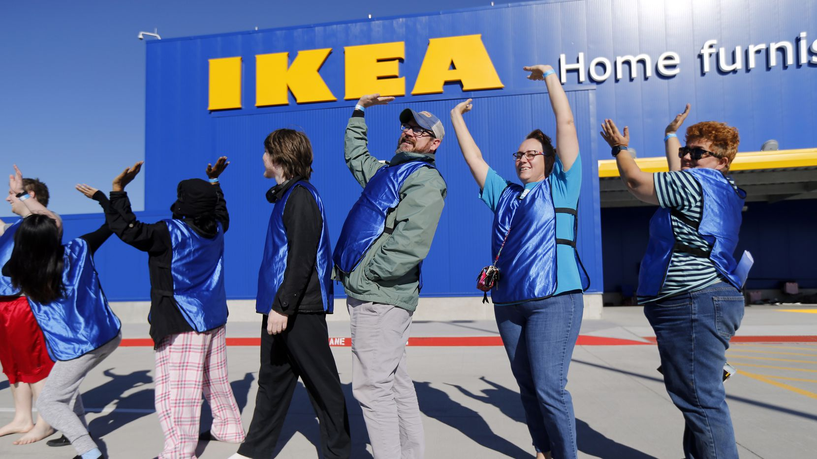 To keep campers from getting bored, IKEA gave them group competitions to perform at the new IKEA Home Furnishings store some on SH 161 in Grand Prairie, Texas.  The campers here posed for a photo like they were holding up the IKEA sign, Tuesday, December 12, 2017.