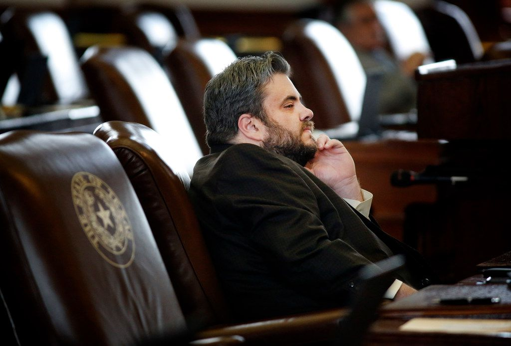 Texas Rep. Jonathan Stickland, R-Bedford, listens to proceedings from his desk during the 86th Legislative Session at the Texas Capitol in Austin, Texas, Wednesday, May 22, 2019. (Tom Fox/The Dallas Morning News)