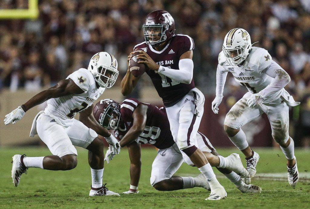 Texas A&M Aggies quarterback Kellen Mond (11) looks for a receiver during the third quarter of a college football game between Texas A&M and Texas State on Thursday, Aug. 29, 2019 at Kyle Field in College Station, Texas. (Ryan Michalesko/The Dallas Morning News)