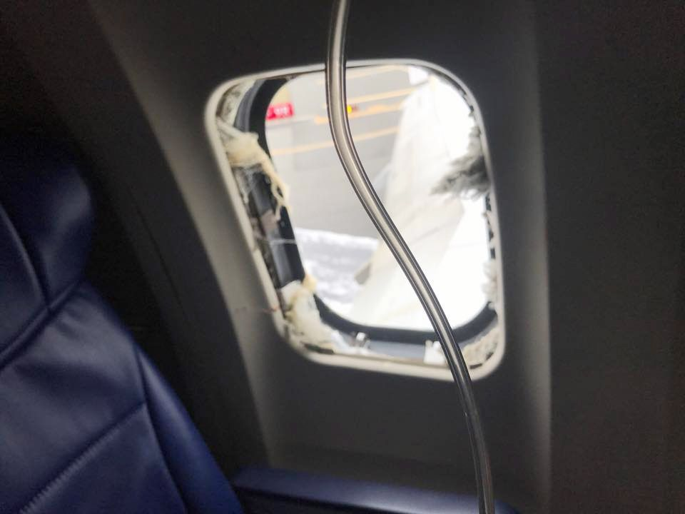 A view of the blown-out window from Southwest Airlines Flight 1380 at Philadelphia International Airport on Tuesday, April 17, 2018. (Marty Martinez)
