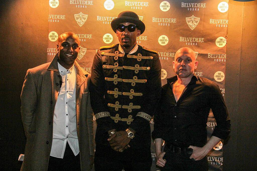 Dallas Mavericks star Amar'e Stoudemire posed on the red carpet with Kent Washington (left) and Matthew Giese at  tThe Grotto Bar at Sfuzzi in Uptown.