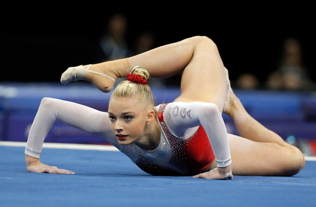 Alyssa Baumann competes in the floor exercise during the U.S. women's gymnastics championships, Friday, June 24, 2016, in St. Louis.