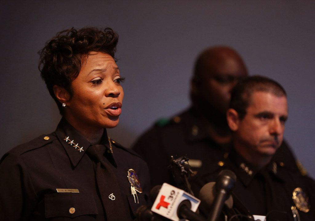 Dallas Police Chief U. Renee Hall speaks at a press conference, following an officer-involved shooting, at Dallas Police headquarters in Dallas on Sept. 7, 2018.