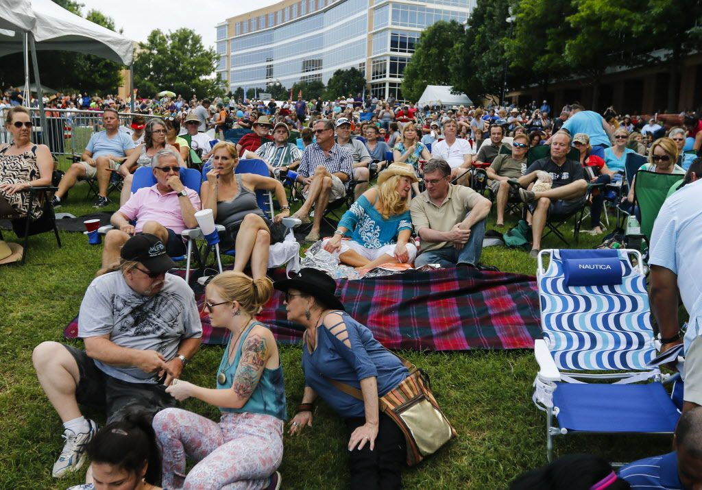 The crowd gathers for singer Leon Russell's performance on the Amphitheater Stage at the Wildflower! Arts & Music Festival in Richardson, TX on Saturday, May 16, 2015.