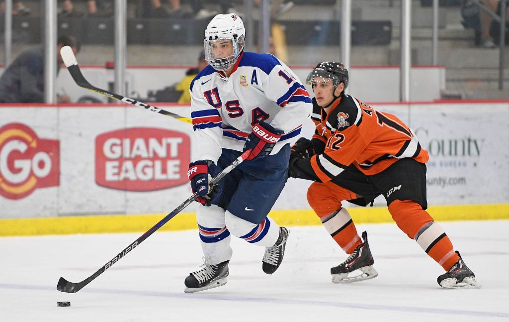 CRANBERRY TOWNSHIP, PA - SEPTEMBER 30: Oliver Wahlstrom #18 of Team USA skates with the puck in the first period during the game against the Omaha Lancers on Day 3 of the USHL Fall Classic at UPMC Lemieux Sports Complex on September 30, 2017 in Cranberry Township, Pennsylvania. (Photo by Justin Berl/Getty Images)