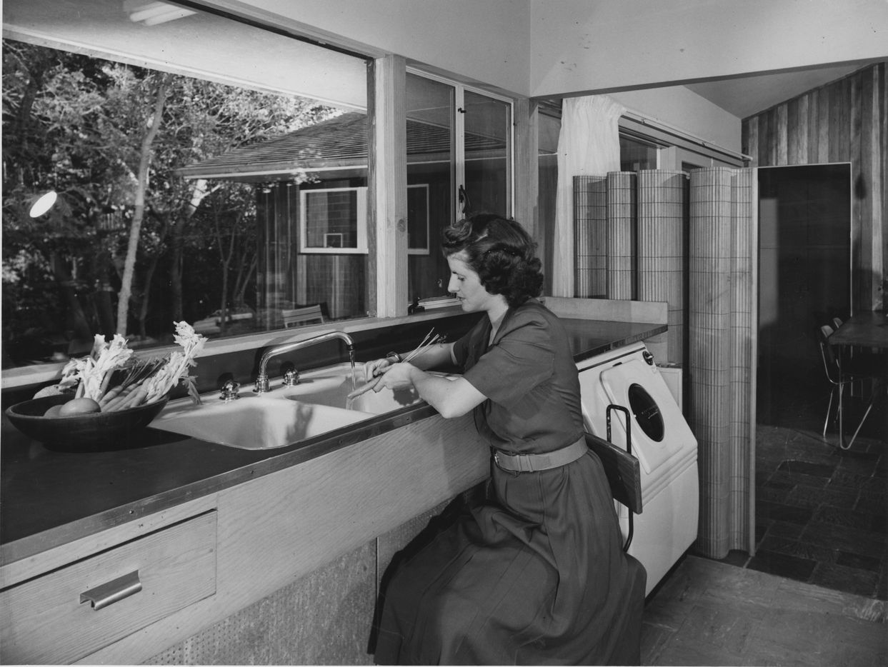 Architect Harold Prinz design the large kitchen window for his nature loving wife, Jeanette, to be able to watch the birds when she was in the kitchen.
