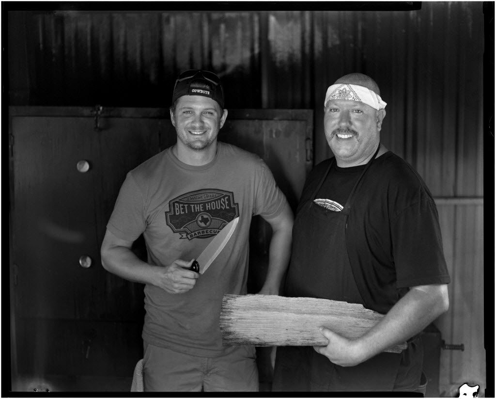 Cody Smithers (left) and Shawn Eagle are the owners and pitmasters of Bet the House Barbecue in Denton. It closed on Dec. 2, 2018.