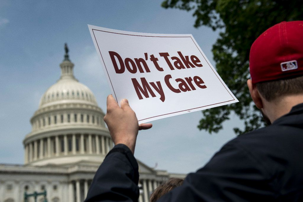 Demonstrators have protested the Republican health care bill on Capitol Hill.