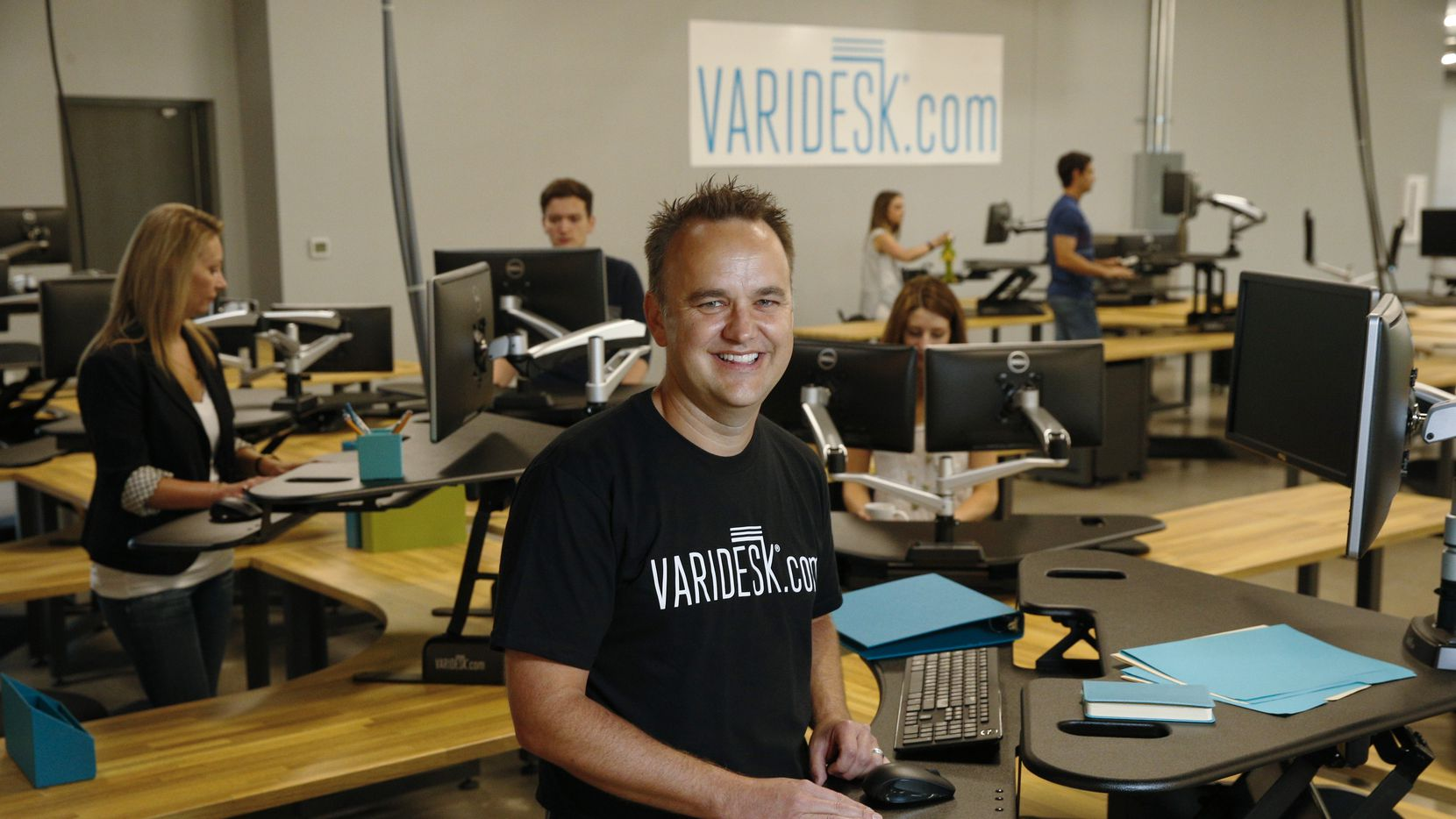 Jason McCann, CEO of Varidesk, at the new headquarters in Coppell.  (Nathan Hunsinger/Staff Photographer)