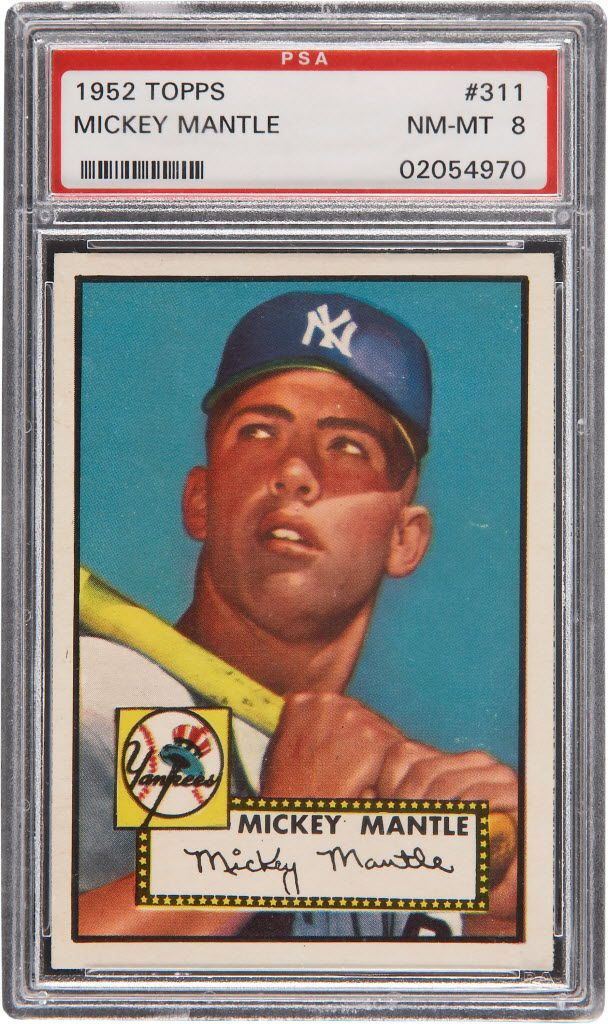 A high grade 1952 Topps Mickey Mantle rookie card.
