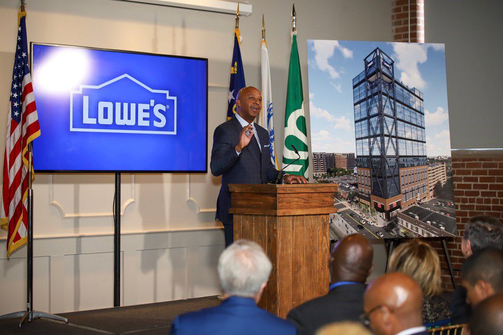 Lowe's CEO Marvin Ellison announces Lowe's will build a new tech center in Charlotte. Dallas was in the runnning.