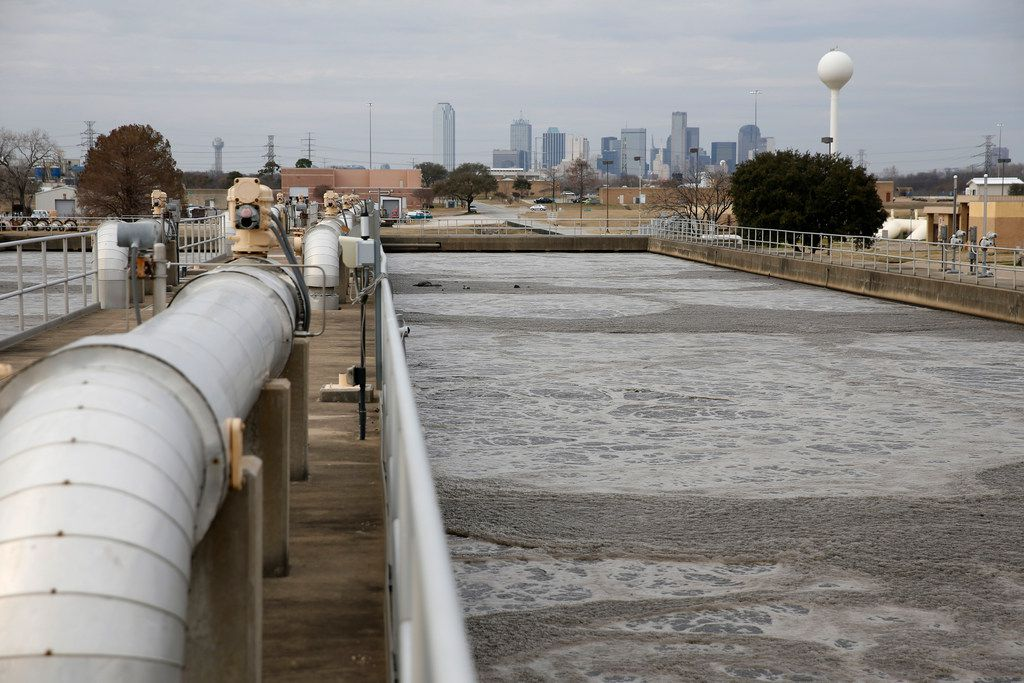 Bubbles form on the top of aeration basins at the Central Wastewater Treatment Plant south of downtown Dallas.