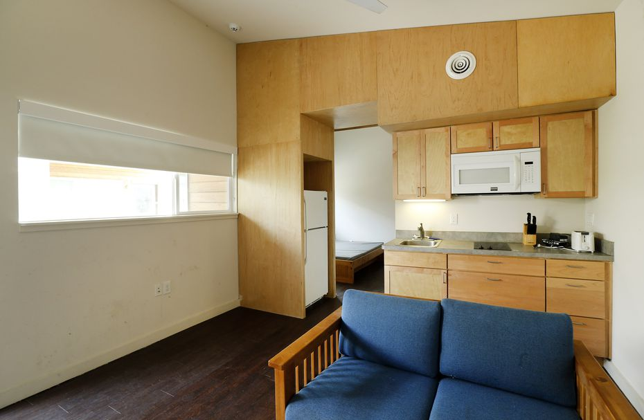The interior of a two-room unit at The Cottages at Hickory Crossing