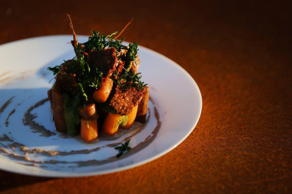 Norris' smoked Tassione Farms carrots with Kamut wheat, charred greens, San Saba pecan puree and IPA mustard