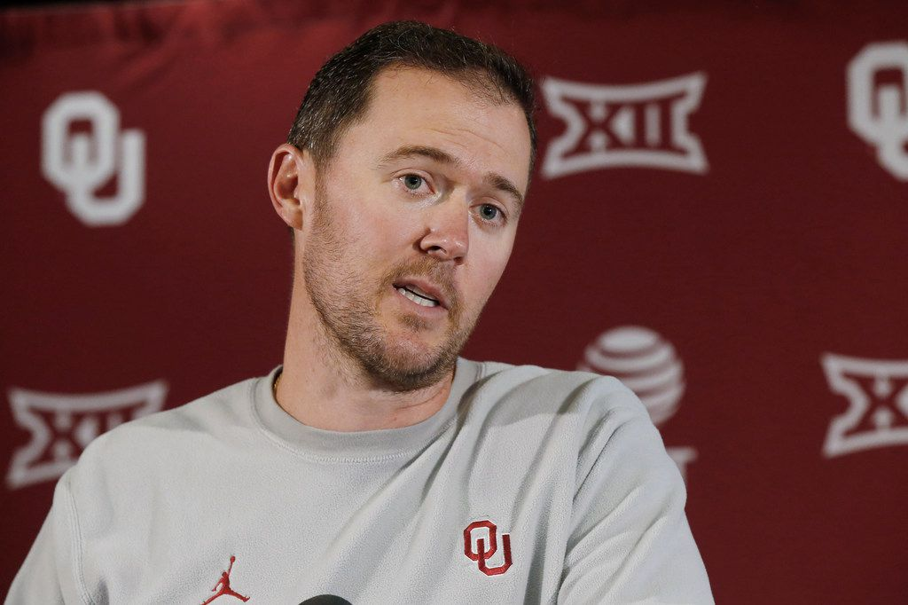 Oklahoma head coach Lincoln Riley answers a question during an NCAA college football news conference Monday, Aug. 26, 2019 in Norman, Okla. Oklahoma opens the season against Houston. Last time that happened, the Cougars pulled a stunner in 2016 that crippled Oklahoma's chances of reaching the College Football Playoff. The Sooners are well aware and don't want a repeat. (AP Photo/Sue Ogrocki)