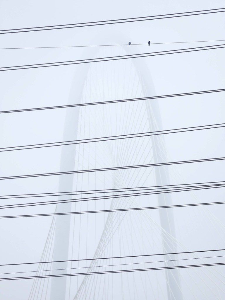 The Margaret Hunt Hill Bridge was partly obscured by fog, as seen through electric transmission wires crossing the Trinity River in Dallas, on the morning of Feb. 27, 2019.