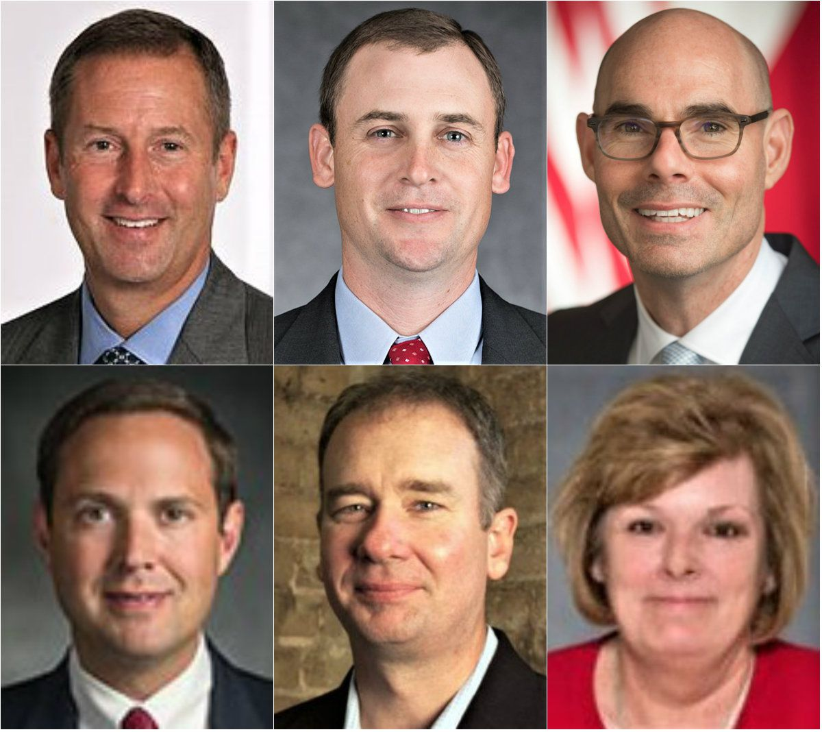 Clockwise from top left: Rep. Jim Murphy, R-Houston; Rep. Andy Murr, R-Junction; House Speaker Dennis Bonnen of Angleton; Rep. Stephanie Klick, R-Fort Worth Empower Texans CEO Michael Quinn Sullivan; and Rep. Dustin Burrows, R-Lubbock