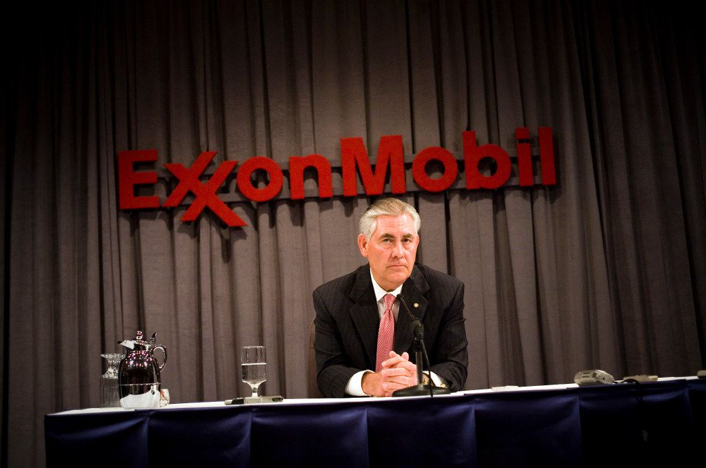 ExxonMobil Chairman Rex Tillerson speaks at a press conference after the ExxonMobil annual shareholders meeting at the Morton H. Meyerson Symphony Center  (Photo by Brian Harkin/Getty Images)