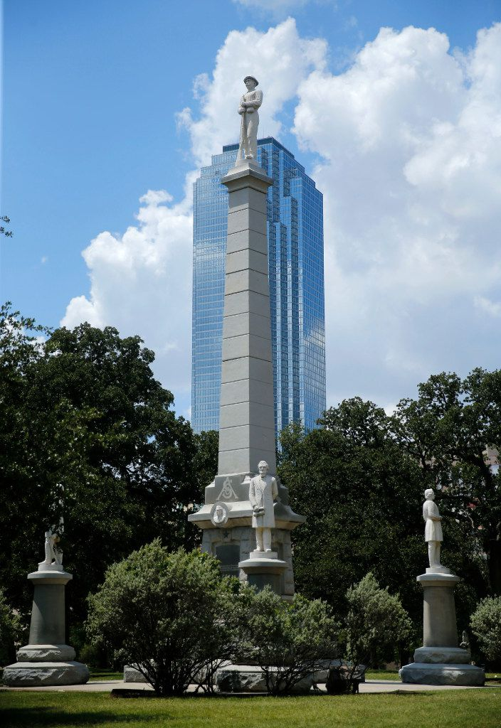 "The Confederate War Memorial at Pioneer Park Cemetery in downtown Dallas, At the monument's base are four more statues, of Confederate President Jefferson Davis, Gen. Robert E. Lee, Gen. Thomas ""Stonewall"" Jackson, and Gen. Albert Sidney Johnston."