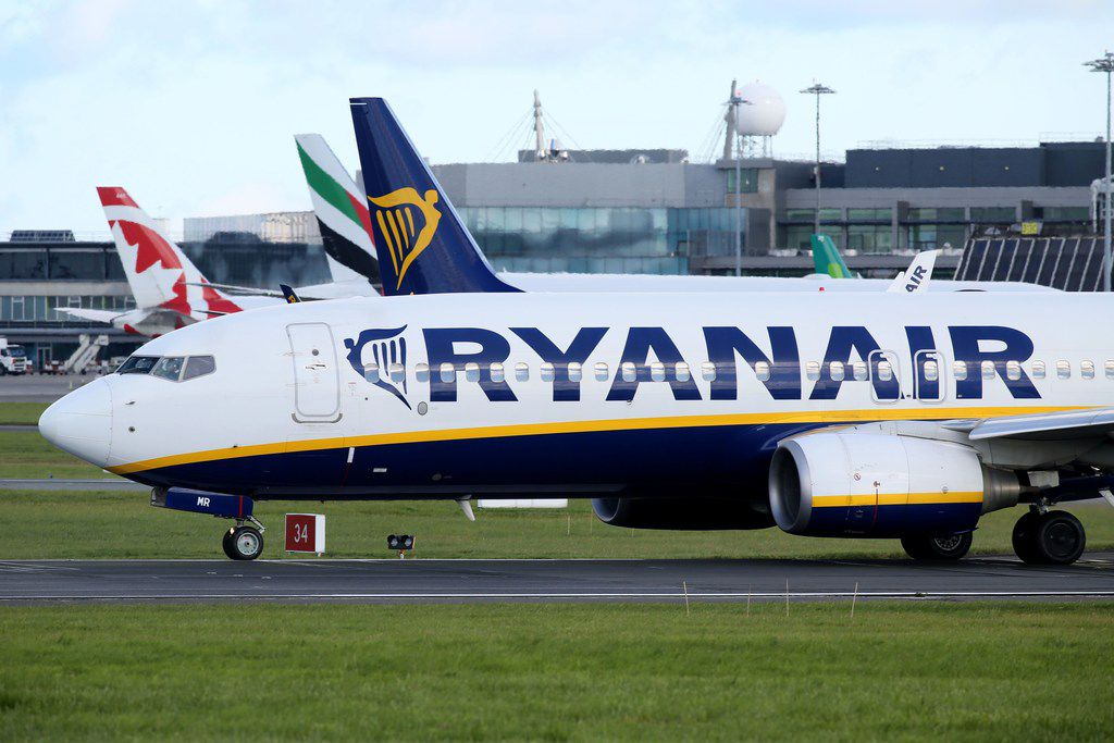 (FILES) This file photo taken on September 21, 2017 shows  A Ryanair plane parked on the runway at Dublin Airport.  Ryanair on September 27, 2017, said it plans to cancel more flights, affecting around 400,000 customers until March, as it struggles with a shortage of pilots.  / AFP PHOTO / Paul FAITHPAUL FAITH/AFP/Getty Images