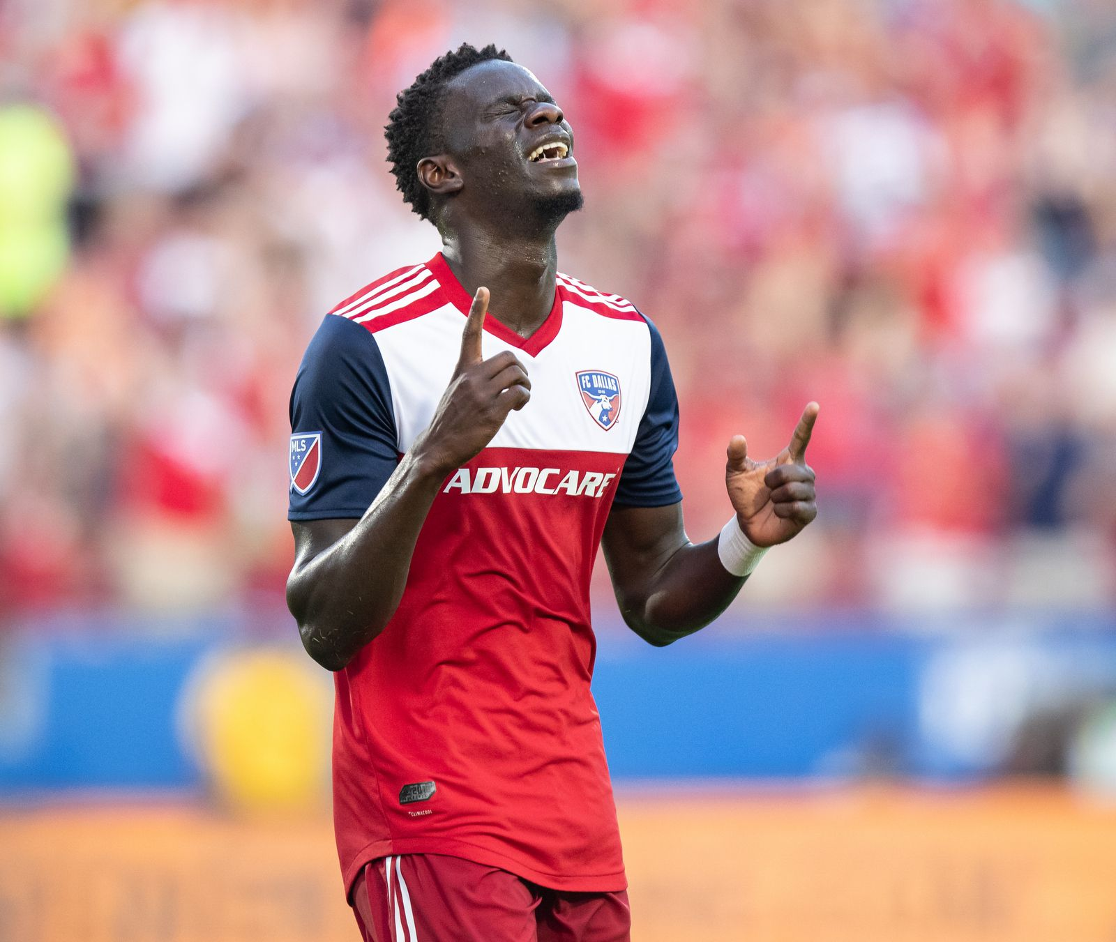 DALLAS, TX - JUNE 22: Dom Badji celebrates during the MLS soccer game between FC Dallas and Toronto FC on June 22, 2019 at Toyota Stadium in Frisco, Texas.  (Photo by Matthew Visinsky)