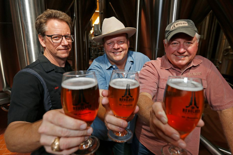 (from left to right) Brewmaster Grant Wood, founders Rhett and Ron Keisler, of Revolver Brewing, sold a majority stake to MillerCoors in August.