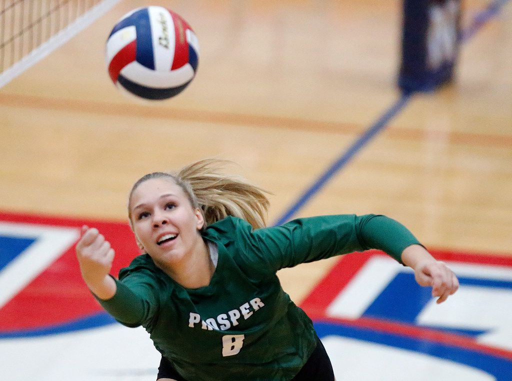 Prosper High School setter Jazzlyn Ford (8) attempts to keep the point alive during game one as Allen High School hosted Prosper High School in a District 9-6A volleyball match in Allen on Tuesday, October 1, 2019. (Stewart F. House/Special Contributor)