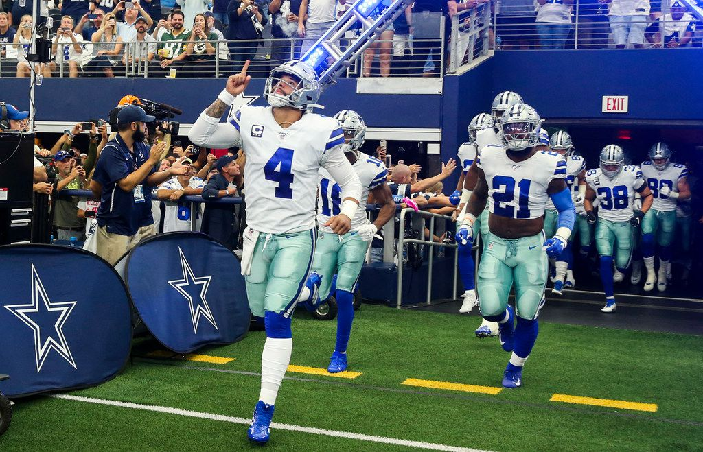 Dallas Cowboys quarterback Dak Prescott (4) takes the field before an NFL game between the Dallas Cowboys and Green Bay Packers on Sunday, October 6, 2019 at AT&T Stadium in Arlington, Texas. (Shaban Athuman/Staff Photographer)