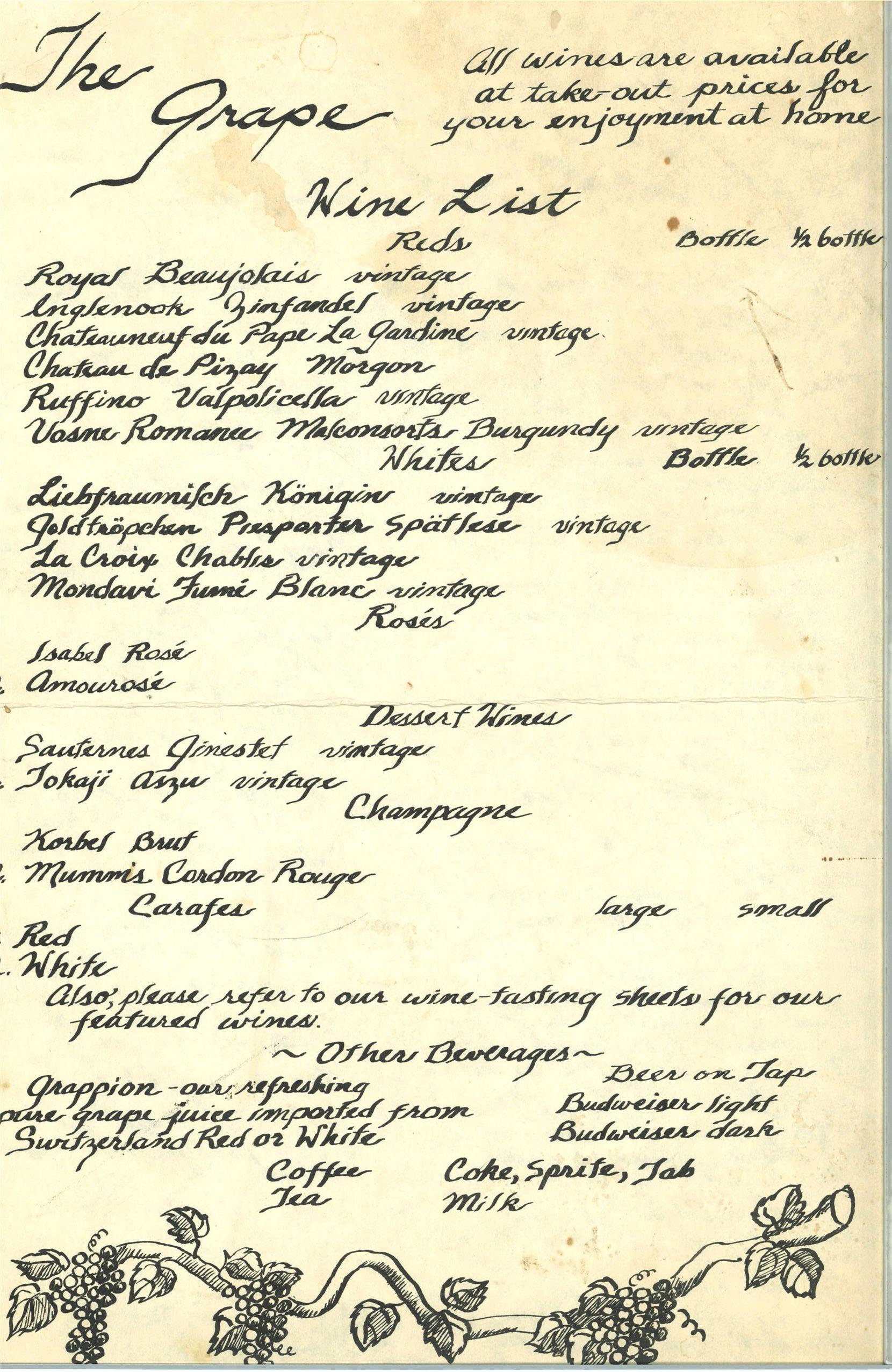 The original wine list