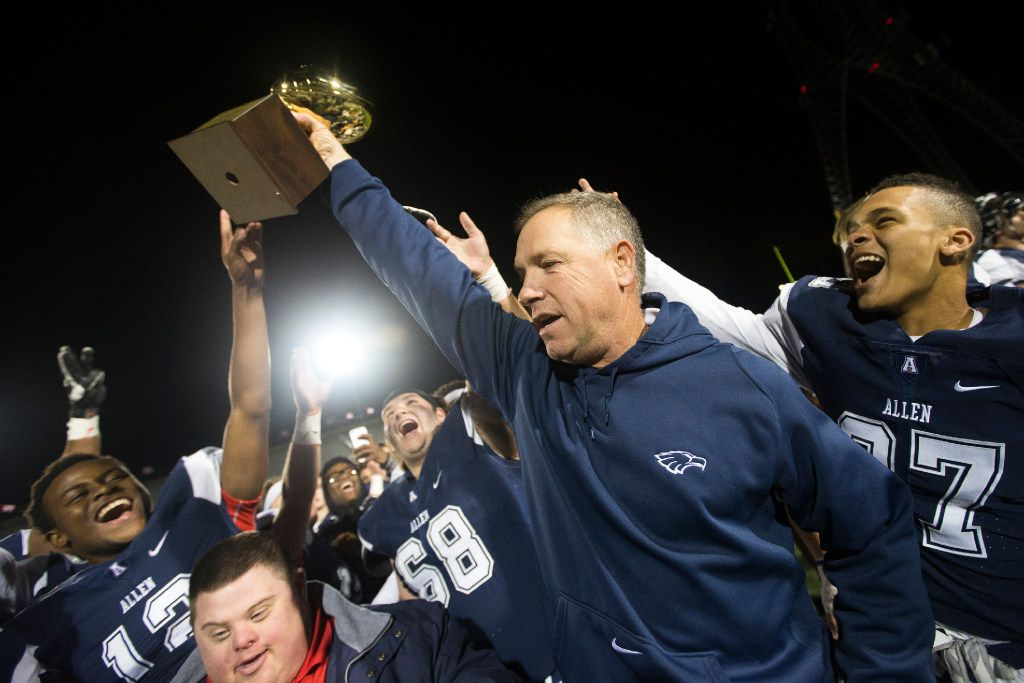 Allen head coach Terry Gambill celebrates his team after their 24-7 6A area round playoff victory over Belton on Nov. 18, 2016, at Mesquite Memorial Stadium. (Andrew Buckley/Special Contributor)