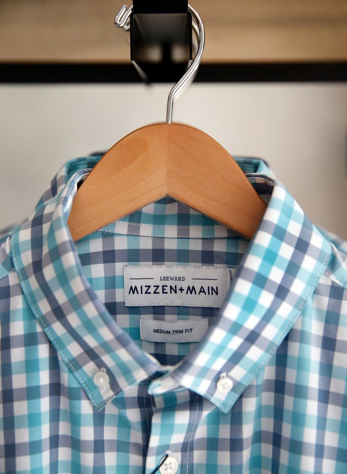 A Mizzen+Main shirt is on display at their flagship store in the West Village shopping center in Dallas, Wednesday, April 10, 2019. The store sells performance fabric menswear.