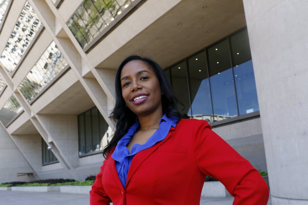 Dallas City Council member Tiffinni Young outside City Hall.